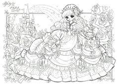 「プリンセスワールド」のぬりえ。見開き2ページ。たっぷりぬりごたえのあるページ...