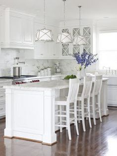Coastal Style: Hamptons Style Kitchen Makeover - needs more pops of color, love the layout & the lighting