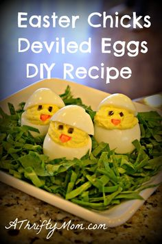 Easter Chicks Deviled Eggs DIY ~ simple money saving recipe - A Thrifty Mom - Recipes, Crafts, DIY and Easter Deviled Eggs, Deviled Eggs Recipe, Easter Recipes, Appetizer Recipes, Holiday Recipes, Appetizers, Easter Ideas, Brunch, Cute Food