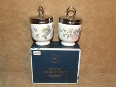 Royal Worcester Standard Sized 2 x Porcelain Egg Coddlers June Garland Boxed