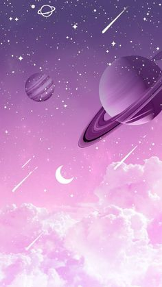 Purple Wallpaper Universe by Gocase purple purple planets planets clouds clouds shooting star Saturn Neptune Jupiter earth trip travel galaxy gocase lovegocase # stars Space Phone Wallpaper, Planets Wallpaper, Kawaii Wallpaper, Cute Wallpaper Backgrounds, Tumblr Wallpaper, Wallpaper Iphone Cute, Pretty Wallpapers, Pink Wallpaper, Cartoon Wallpaper