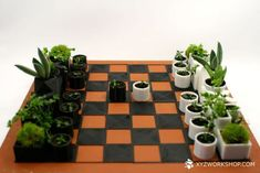 Loosely based on Bauhaus-style chess pieces, this printed chess set cleverly incorporates nature by doubling as tiny planters for succulents or herbs. Tiny Flowers, Flower Pots, 3d Printed Objects, Classic Board Games, Pen Design, Workshop, Chess Pieces, Game Pieces, 3d Prints