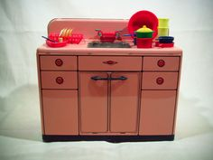 MARX Vintage 1950's Lithographed Tin Toy Metal Sink - Pink #Marx