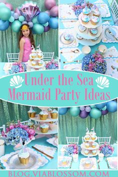 You do not want to miss our Mermaid Birthday Party Decorations!  We have everything you will need for a Magical Mermaid Party! #mermaidbirthdayparty #mermaidpartyideas #mermaidpartydecorations #viablossom