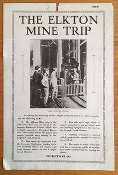 ELKTON GOLD MINE TRIP Cripple Creek CO COLORADO Ghost Town 1934 BROADSIDE Mining