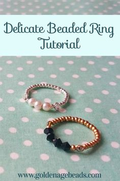Today, we have another free jewelry making tutorial for you! You'll find below a step by step guide to show you how to make a delicate beaded ring. Beaded rings are a lot of fun to make and they tend… diy jewelry How to Make an Easy Delicate Beaded Ring Diy Beaded Rings, Diy Jewelry Rings, Wire Jewelry, Jewelry Crafts, Beaded Jewelry, Handmade Jewelry, Handmade Rings, Bridal Jewelry, Diy Rings From Wire
