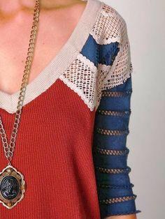 Deep V-Neck Crochet Sleeves Blouse