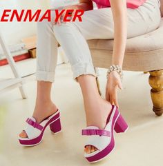 ENMAYER 2014 fashion high-heeled shoes open toe sandals summer dress shoes  for women summer sandals size 34-39 women Slides  65.00 f14538ae7684