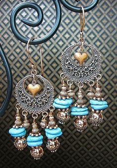 COPPER / TURQUOISE FILIGREE Turquoise by CayaCowgirlCreations, $25.00