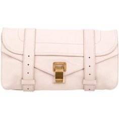 Pre-owned Proenza Schouler PS1 Leather Pochette ($280) ❤ liked on Polyvore featuring bags, handbags, clutches, pink, real leather handbags, genuine leather handbags, leather clutches, leather flap handbags and kiss-lock handbags