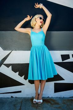 Pinup Couture Audrey Dress in Light Blue | Pinup Girl Clothing