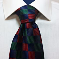 Paul Stuart 100% Silk Woven Neck Tie Red Blue Green Men's Necktie #PaulStuart #NeckTie