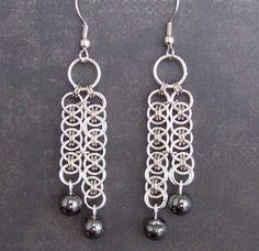Hematite Cascade Chainmaille Earrings by TrinketsByM on Etsy, $10.50