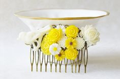 Bird Hair Clip, Rustic Woodland Hair Clip, Yellow Flower Hair Comb, Ivory Cream Hair Piece, Extra-Wide Hair Comb, Assemblage Hair Fascinator by SmittenKittenKendall on Etsy