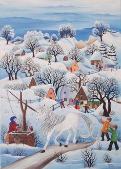 Mariana Mihut-Caballo blanco Winter Illustration, Fairy Art, Outsider Art, Folk Art, Fairy Tales, Watercolor, Drawings, Artist, Poster