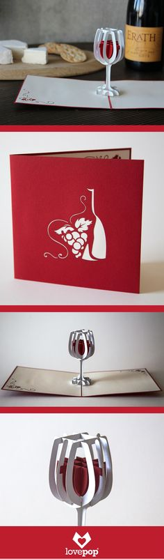 This merlot colored 3d pop up card holds a pop up glass full of wine. Beautiful paper art for an oenophile.