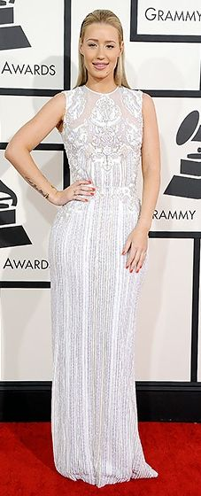 Work, work, work! Iggy Azalea in Elie Saab at the 2014 Grammy Awards