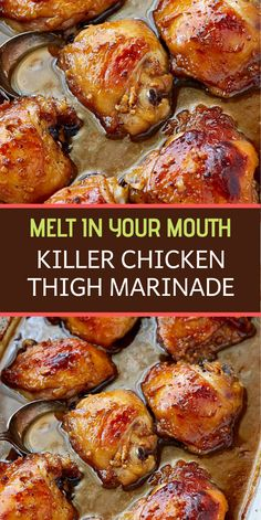 This killer chicken thigh marinade will blow your mind. It's the best! Easy to make with a few simple ingredients, and make a dish with intense flavors. # Food and Drink chicken thighs Killer Chicken Thigh Marinade Chicken Thights Recipes, Easy Chicken Recipes, Turkey Recipes, Meat Recipes, Cooking Recipes, Healthy Recipes, Chicken Thigh Marinade, Chipotle, Chicken Recipes