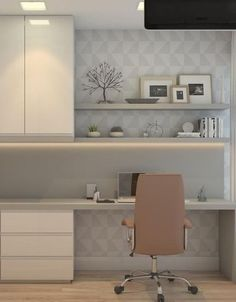 HOME OFFICE. In this compact space, the Home Office was designed in light shades . Home Room Design, Home Office Design, Home Office Decor, Modern Bedroom Design, Home Interior Design, Home Decor, Modern Home Offices, Home Office Space, Office Interiors