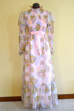 1960s Vintage Pink Chiffon Floral Prom Party by TabbysVintageShop