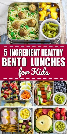 5 Ingredient Bento Box Lunches for Kids for a Week - If you're looking for some easy, creative, and healthy school lunch ideas for kids, check out these super simple 5 ingredient bento box lunches for kids for a WHOLE WEEK! - Time To Lunch Bento Box Lunch For Kids, Kids Lunch For School, Lunch Snacks, Box Lunches, Lunch Recipes, Whole Food Recipes, Lunch Ideas For Teens, Bento Lunch Ideas, Bento Kids