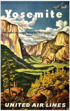 Vintage travel poster: United Airlines - Yosemite