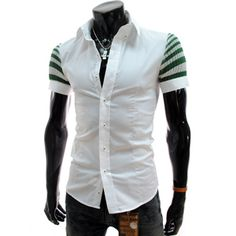 (CE104-WHITE) Slim Fit Knit Patched Short Sleeve Stretchy Shirts