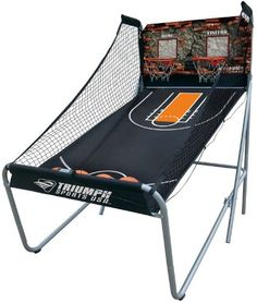 Electronic Basketball Game - Triumph Sports USA Big Shot 8-in-1 Two-Player Basketball is designed with an extra wide backboard to allow plenty of room for shooting competition. The LED electronic scoring creates an arcade atmosphere with sound effects and game clock for 8 different games.