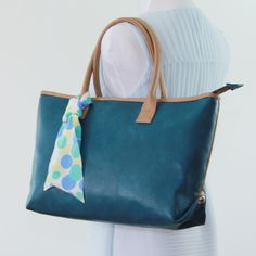medium Tote Bag Faux leather purse monogram blue green Padded Structured totebag carry all, travel, school bag, everyday bag, laptop bag. by bennaandhanna on Etsy