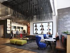 Vocon, a national architectural and design firm, recently completed the redesign for their headquarters located in the heart of Cleveland, Ohio. Vocon has Interior Staircase, Interior Architecture, Modular Lounges, Moss Wall, Waiting Area, Video Wall, Cool Cafe, Cool Apartments, Commercial Interiors