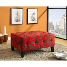 Armen Living Blake Tuffted Ottoman in Red Flower Velvet Fabric Ottoman, Fabric Ottoman, Tufted Furniture, At Home Furniture Store, Furniture, Red Accent Wall, Home Furniture, Ottoman Decor, Patterned Furniture
