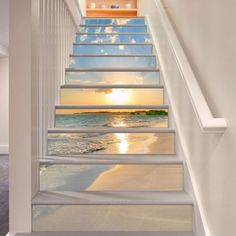 Sunrise Beach 15 Stair Risers Decoration Photo Mural Vinyl Decal Wallpaper Murals Wallpaper Mural US x Stairway Art, Floor Murals, Wall Murals, Wallpaper Murals, Wallpaper Uk, Wallpaper Stickers, Marble Stairs, Decoration Photo, Escalier Design