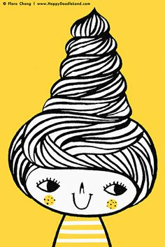 Swirly Hair 12 x 16 Art Print by flora chang | Happy Doodle Land