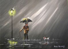 """Umbrella Rain - Old Gadgy Walking Dog"" by Pete Rumney"