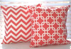 Coral Home Decor Pillow Covers in  Chevron Zig Zag and Geometric Print, via Etsy.