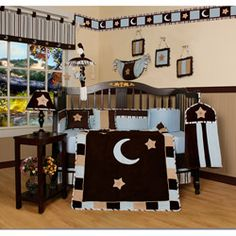 @Overstock - Get your nursery ready with this charming 13-piece crib set that features moons and stars set on a chocolate background. This set includes a quilt, bumper, sheet, two valances, skirt, diaper stacker, toy bag, two accent pillows and three wall hangings.http://www.overstock.com/Baby/Blue-Moon-and-Star-13-piece-Crib-Bedding-Set/5225007/product.html?CID=214117 $104.49