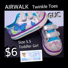 ​Toddler Girl Butterfly AIRWALK Size 5.5t Twinkle Toes GUC $6  Buy this product right on Facebook https://admin.shoptab.net/linkbacks/221789795