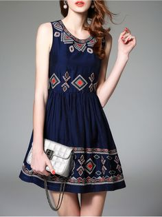 Embroidered Sleevless Mini Dress.Did you prepare beautiful dress to wear in summer?If not,why don't you try this dress.