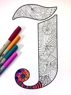 "Letter J Zentangle - Inspired by the font ""Deutsch Gothic"" White Things letter j color white Doodle Art Letters, Letter Art, Mandalas Drawing, Mandala Art, Doodles Zentangles, Zentangle Patterns, Monogram Letters, Letters And Numbers, Alphabet Letters"