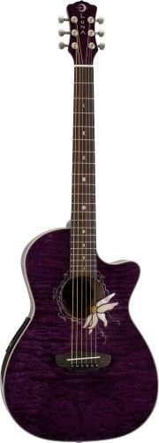 Luna Flora Series Passion Flower Quilted Maple Cutaway Acoustic-Electric Guitar - Transparent Purple