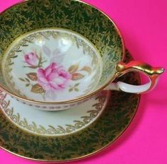 Aynsley tea cup and saucer large Athens shape cup and saucer