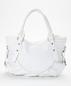 White Double-Handle Saddle Shoulder Bag