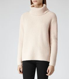 Womens Blush Zip Embellished Roll-neck Jumper - Reiss Locke