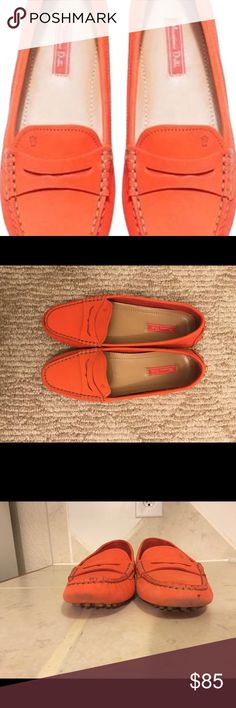 Massimo Dutti Moccasins Beautiful leather moccasins in coral color. There are visible signs of wear on the toes and heels of the shoes as seen on pictures 3 and 4. Fit as 7.5, although it says European 38. Massimo Dutti has different size guidelines. I can sell for less Tradesy!! ☺️ Massimo Dutti Shoes Moccasins