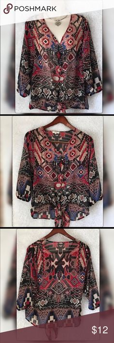 "Free People Halo Semi Sheer Boho Top Free People Halo Semi Sheer Boho Top. Pit to pit measures 21"" Length 28"" Gently Used with no flaws. Free People Halo Tops Blouses"