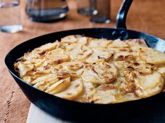 Tortilla Española | Mario Batali's tortilla espanola recipe, based on one he tasted in Spain, offers an especially high ratio of beautifully browned red bliss potatoes to eggs.