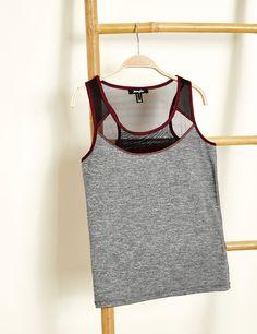 débardeur fitness never stop gris anthracite, bordeaux et noir