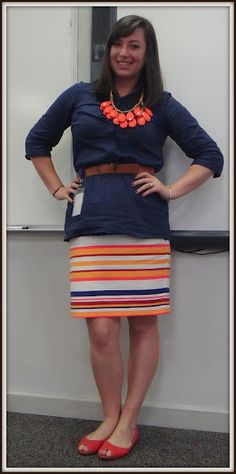 04b2cab4c target striped skirt, navy button down, brown belt and coral necklace Mix  Match Outfits