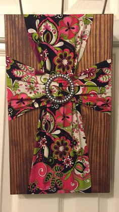 Beautiful fabric and wood cross by SimplyShannasCrafts on Etsy