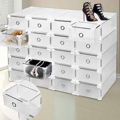 SURPZON Shoe Rack Organiser 9 Plastic Drawer Shoe Storage Box Clear Stackable Shelf Transparent Folding Large Size Cabinet Unit for Women & Men - Clear Stackable Shelves, Boot Storage, Plastic Shoes, Plastic Drawers, Pull Out Drawers, Drawer Organisers, Shoe Organizer, Neat And Tidy, Shoe Boots